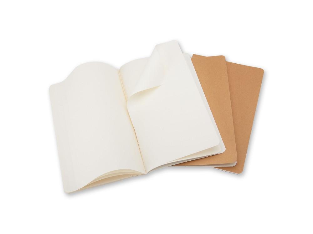 Zestaw notatników gładkich A5 - Moleskine - kraft, 3 szt.