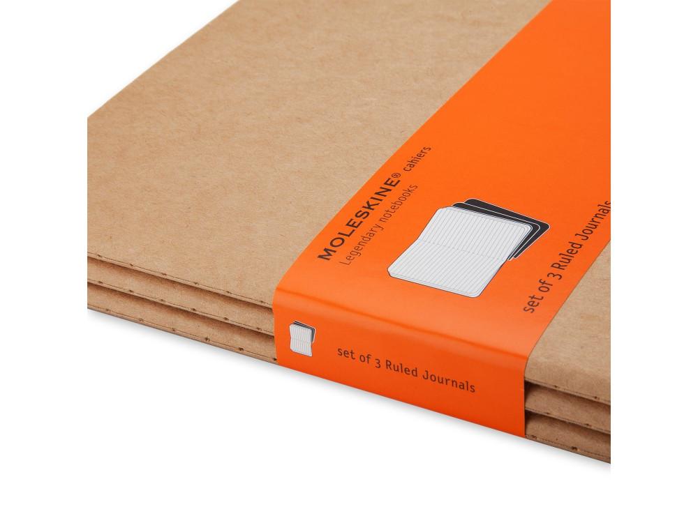 Zestaw notatników w linie A5 - Moleskine - kraft, 3 szt.