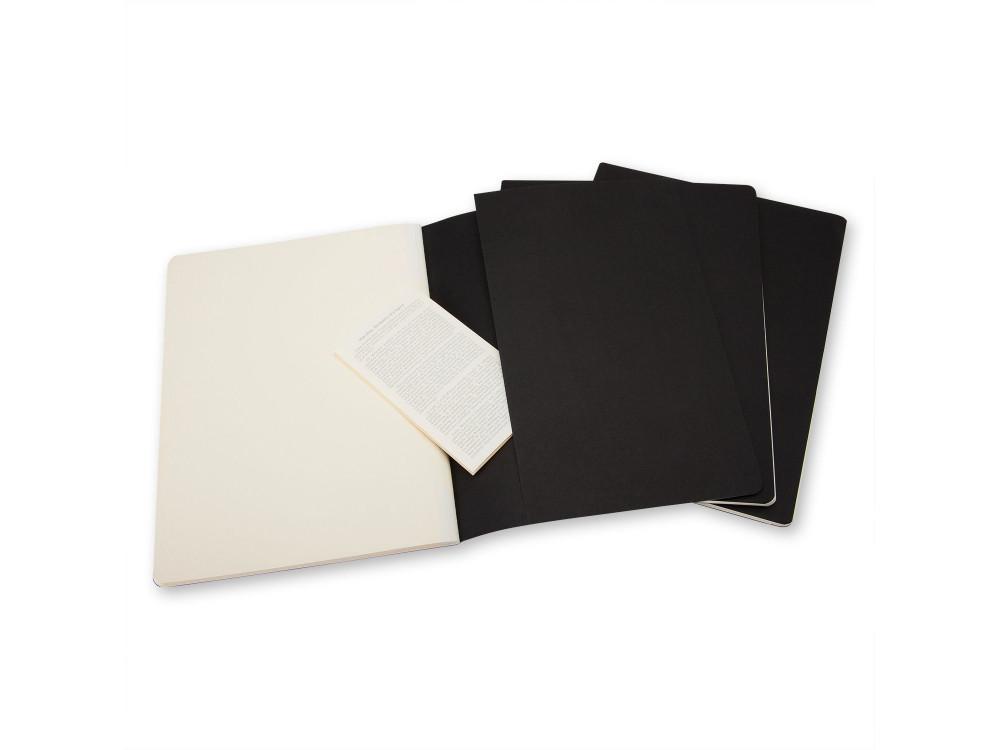 Zestaw notatników gładkich XL - Moleskine - czarne, 3 szt.