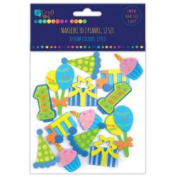 3D FOAM STICKERS - BIRTHDAY BOY, 12 PCS