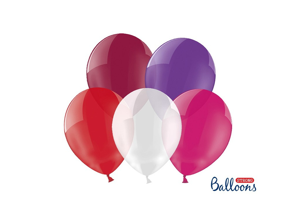 Strong balloons - crystal, 27 cm, 100 pcs.
