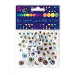 Assorted natural wiggle eyes - DpCraft - natural, 72 pcs.
