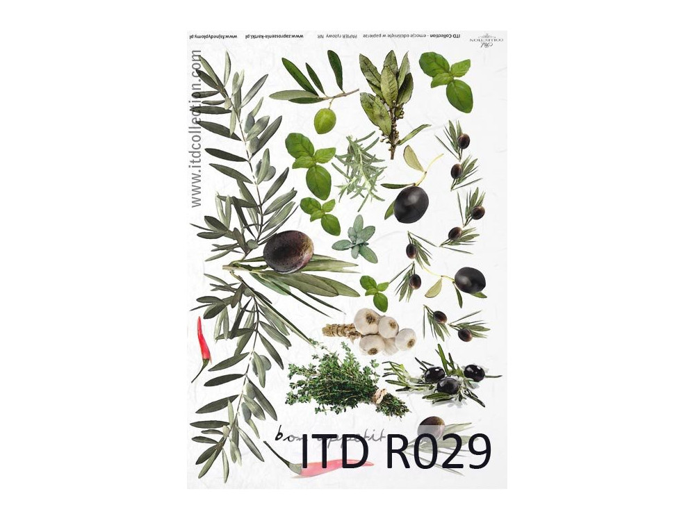 Decoupage paper A4 - ITD Collection - rice, R029