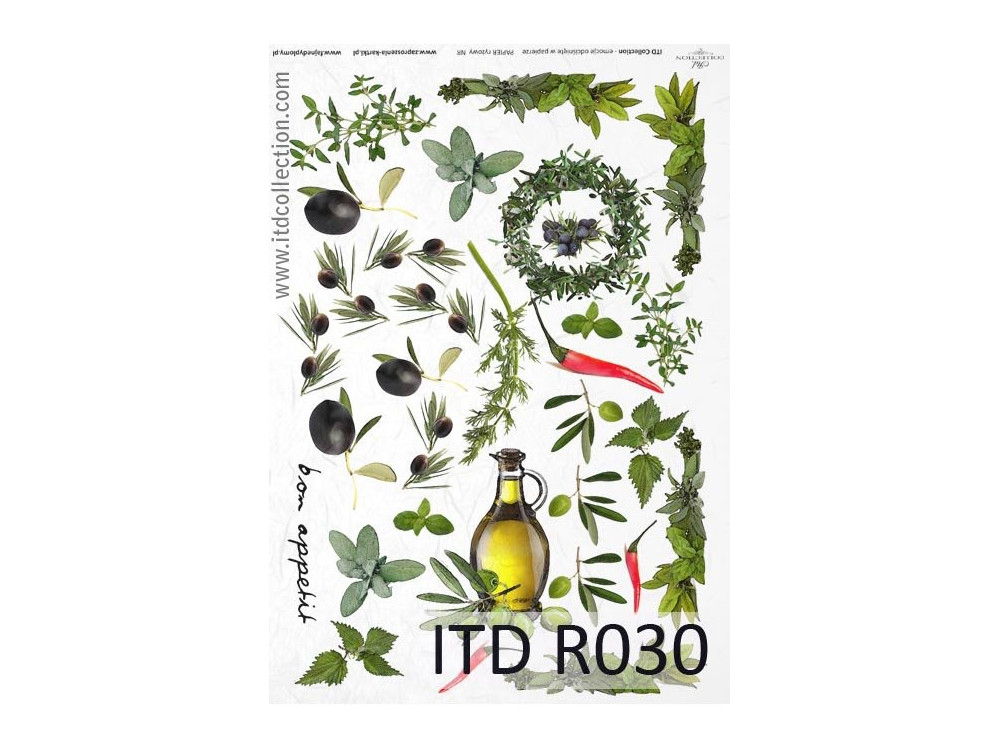 Decoupage paper A4 - ITD Collection - rice, R030