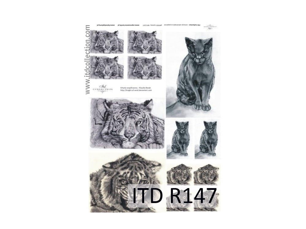 Papier do decoupage A4 - ITD Collection - ryżowy, R147
