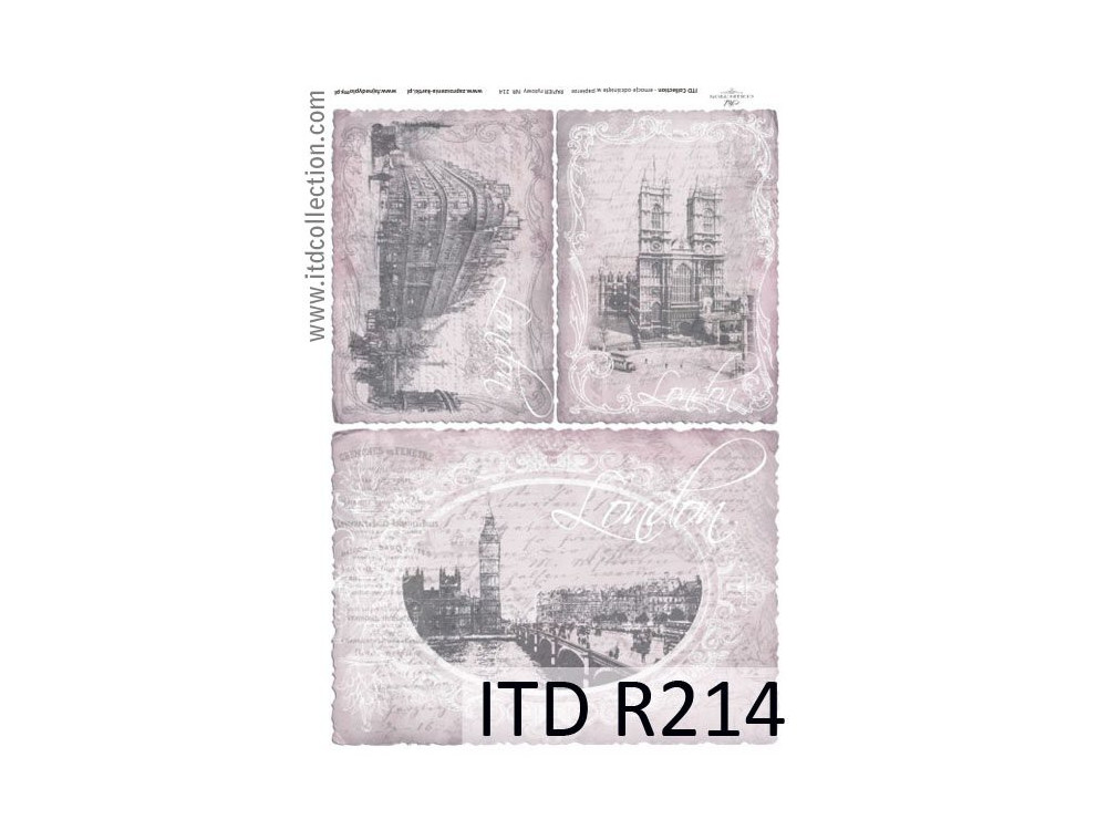 Papier do decoupage A4 - ITD Collection - ryżowy, R214