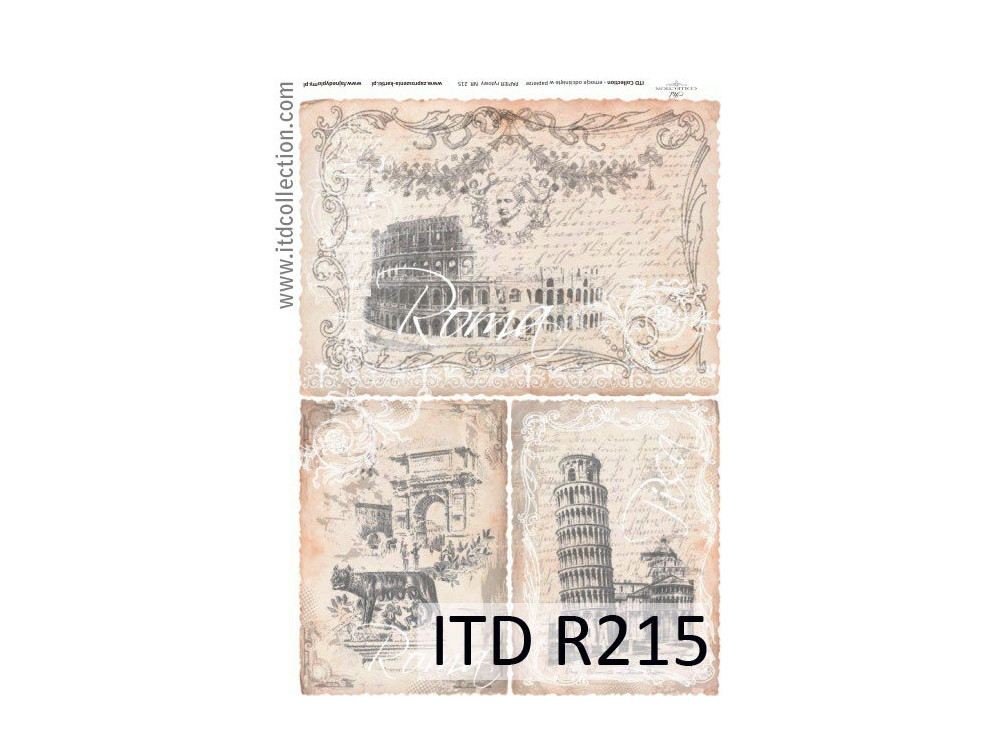 Papier do decoupage A4 - ITD Collection - ryżowy, R215
