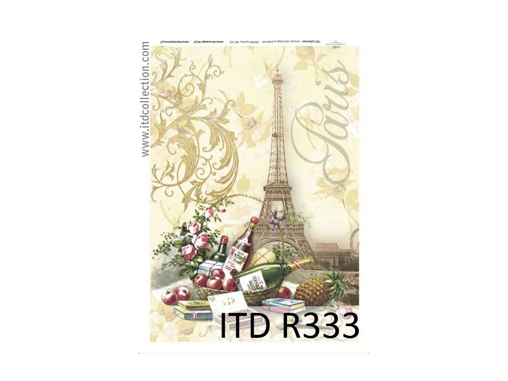Papier do decoupage A4 - ITD Collection - ryżowy, R333