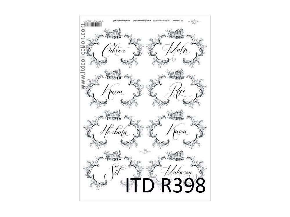 Decoupage paper A4 - ITD Collection - rice, R398