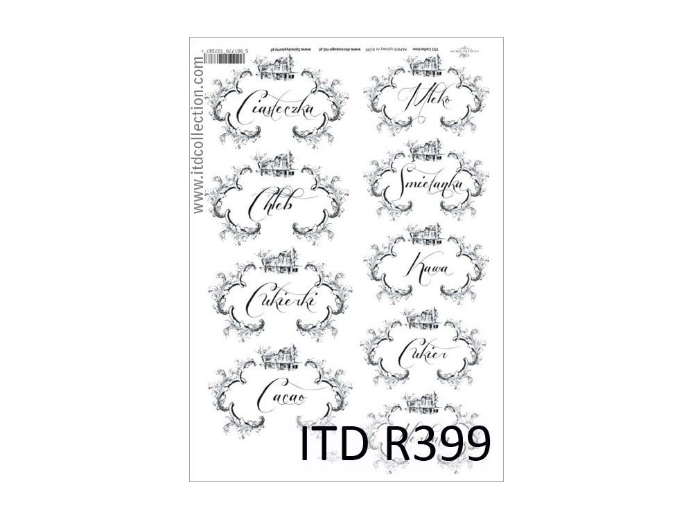 Papier do decoupage A4 - ITD Collection - ryżowy, R399