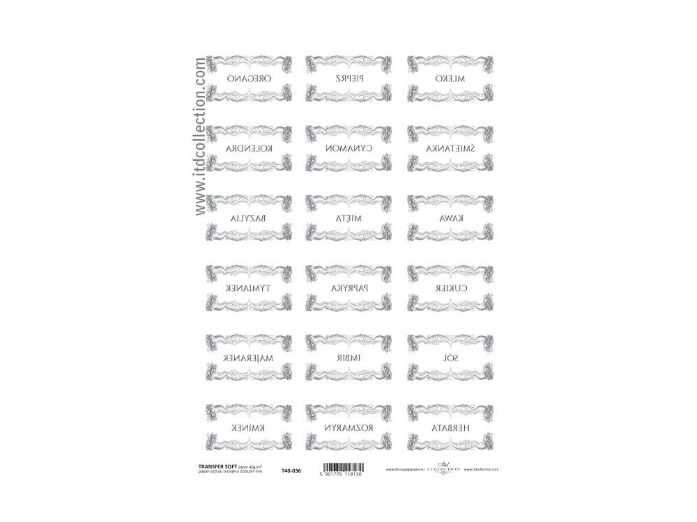 Papier do transferu A4 - ITD - 036