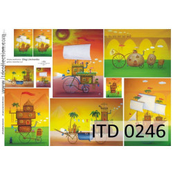 Papier do decoupage A4 - ITD Collection - klasyczny, 0246