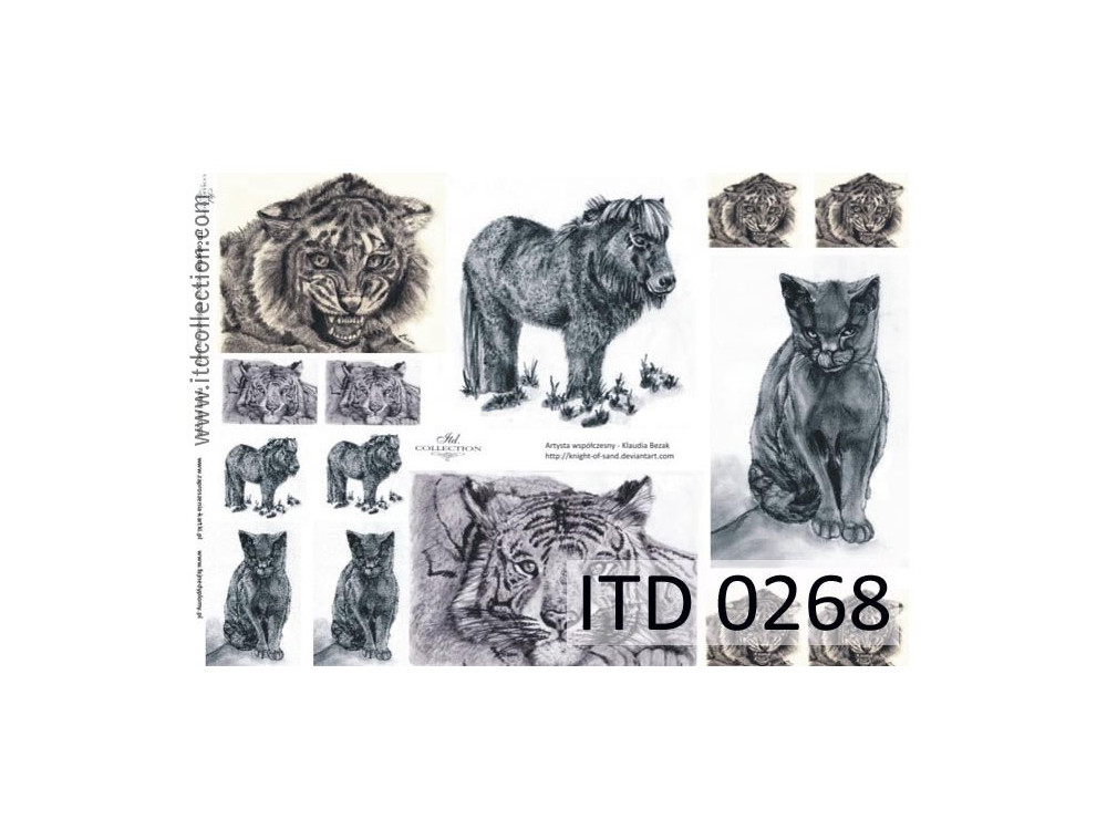 Papier do decoupage A4 - ITD Collection - klasyczny, 0268