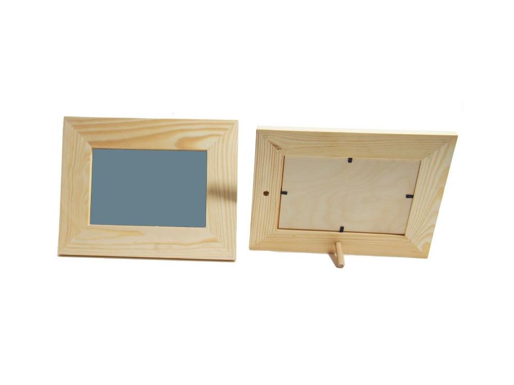 Ramka drewniana z lustrem - prostokątna, 22 x 17 cm