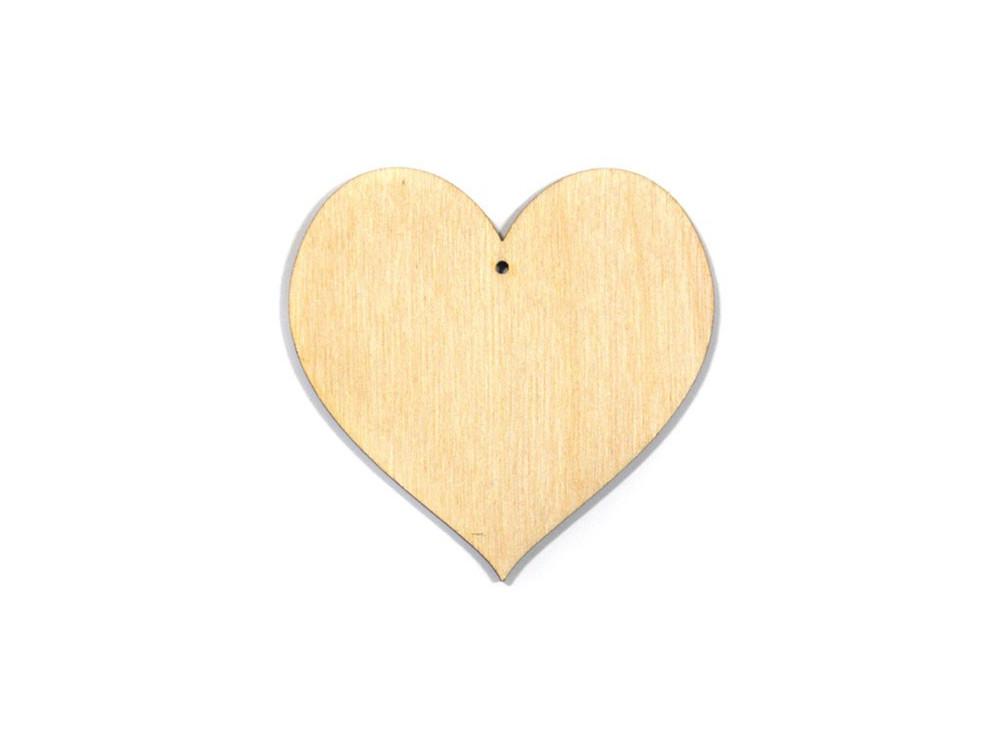 Serce ze sklejki, zawieszka - 4,3 cm