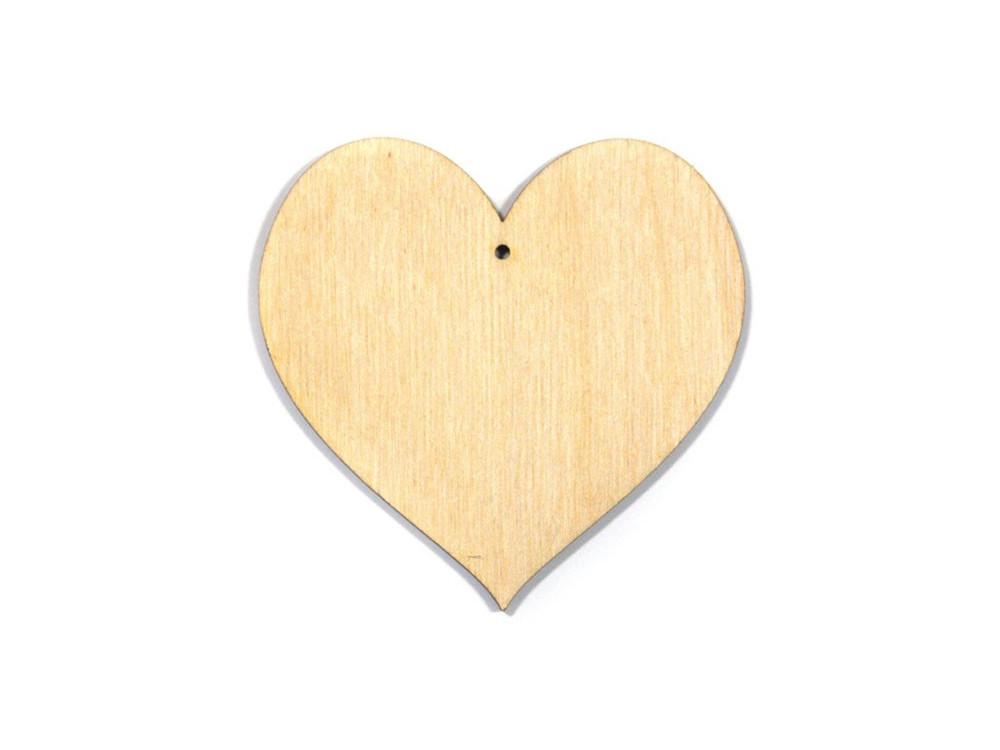 Serce ze sklejki, zawieszka - 7,2 cm