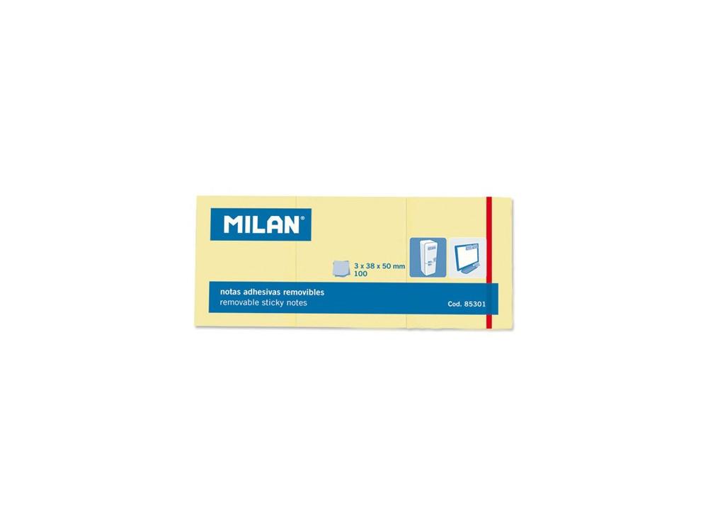 Karteczki samoprzylepne 38 x 50 mm - Milan - żółte, 300 szt.