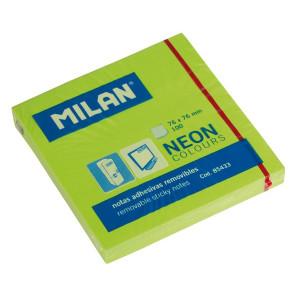 Karteczki neonowe samoprzylepne MILAN 76 x 76 mm 100 szt. zielone