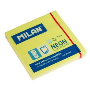 Karteczki neonowe samoprzylepne MILAN 76 x 76 mm 100 szt. żółte
