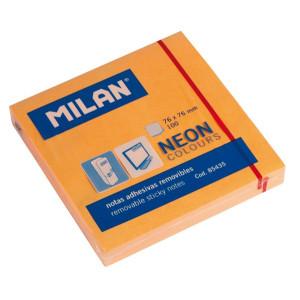 Karteczki neonowe samoprzylepne MILAN 76 x 76 mm 100 szt. pomarańczowe