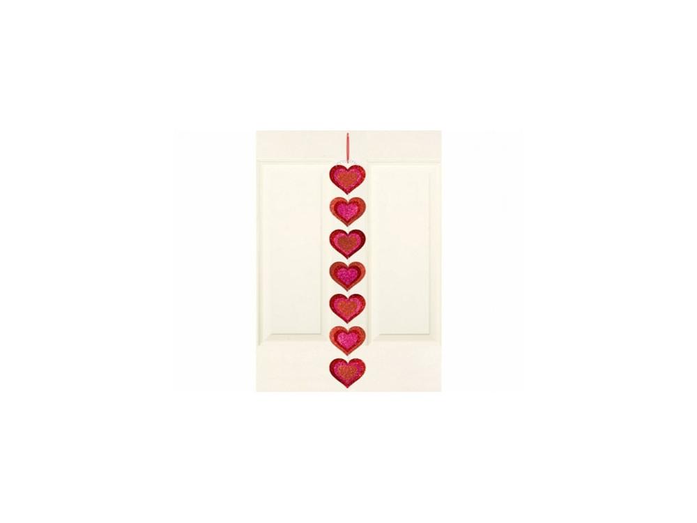 Dekoracja wisząca Serca - czerwone, brokatowe, 71 cm