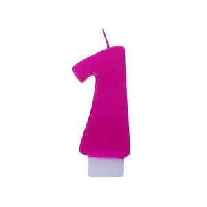 Świeczka urodzinowa różowa cyferka 1