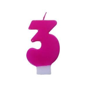 Świeczka urodzinowa różowa cyferka 3