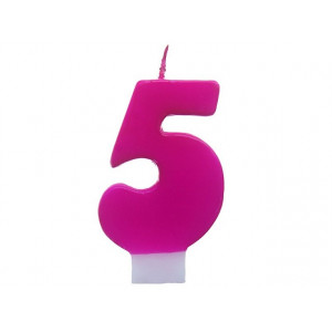 Świeczka urodzinowa różowa cyferka 5