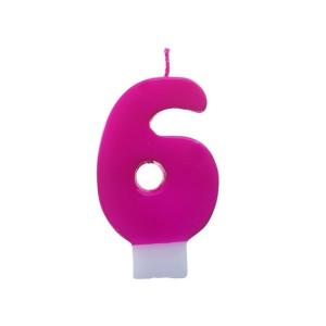 Świeczka urodzinowa różowa cyferka 6