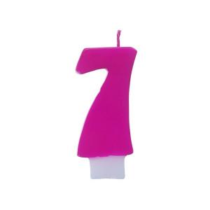 Świeczka urodzinowa różowa cyferka 7