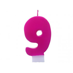 Świeczka urodzinowa różowa cyferka 9