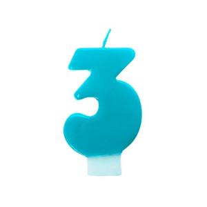 Świeczka urodzinowa turkusowa cyferka 3