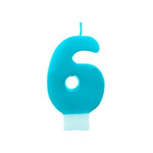 Świeczka urodzinowa turkusowa cyferka 6