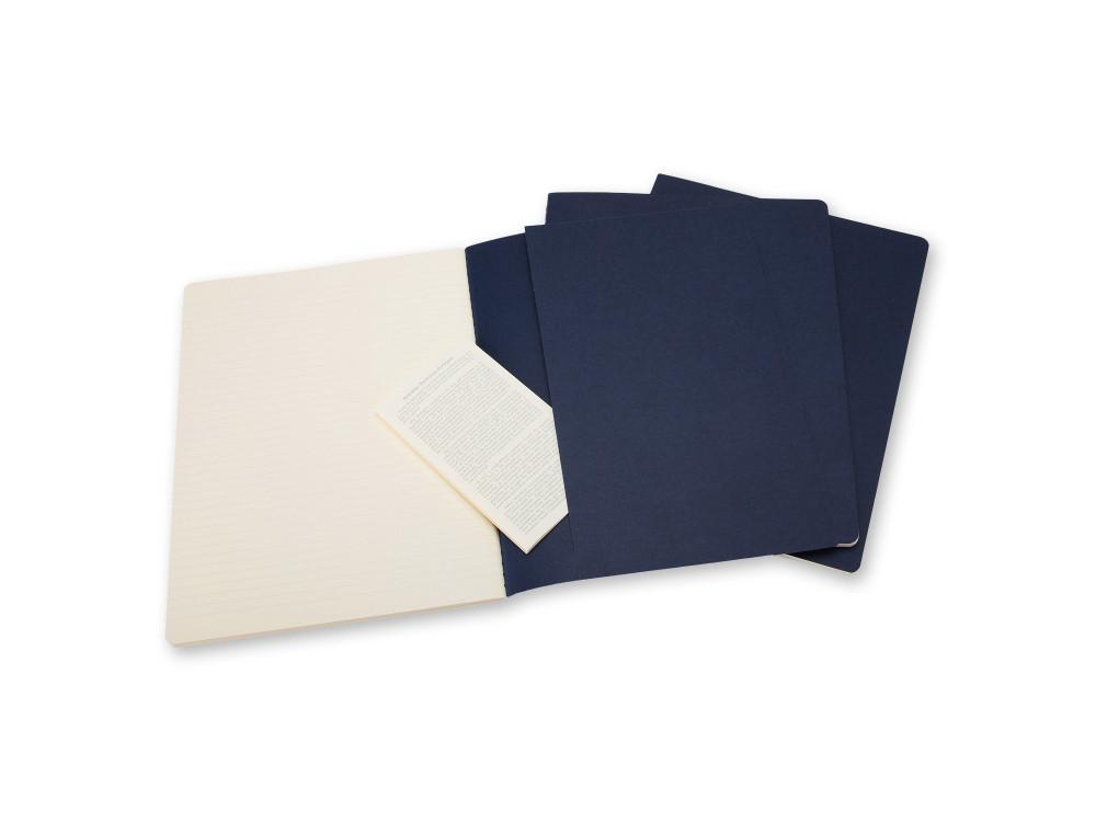 Zestaw notatników w linie - Moleskine - XL, granatowe, miękka okładka