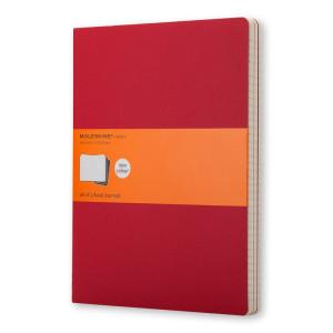 Zestaw 3 zeszytów Cahier Moleskine Cranberry Red XL