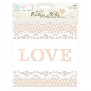 Zestaw ażurowych kart i kopert 15,2 x 15,2 cm - Papermania - Vintage Notes 6 szt.