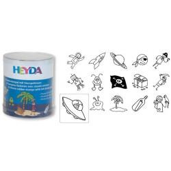 Set of Stamps Heyda - Pirates 15 pcs