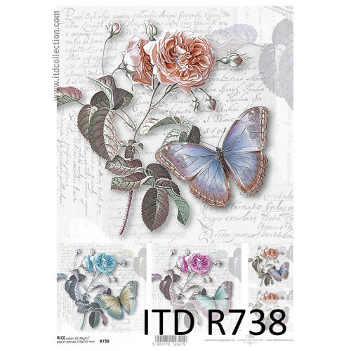 Papier ryżowy decoupage ITD R738