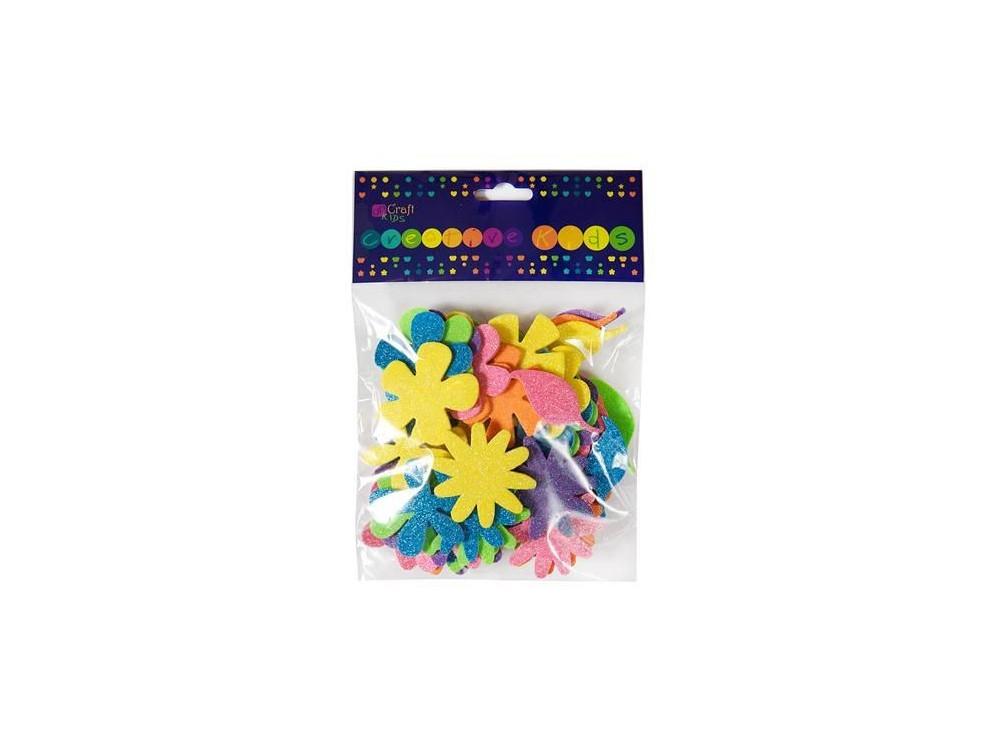 Brokatowe naklejki z pianki - DpCraft - kwiatki, 72 szt.