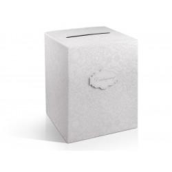 Pudełko na koperty i życzenia ślubne - szare perłowe