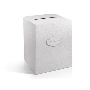 Pudełko na koperty i życzenia, perłowe szare 25 x 25 x 30 cm