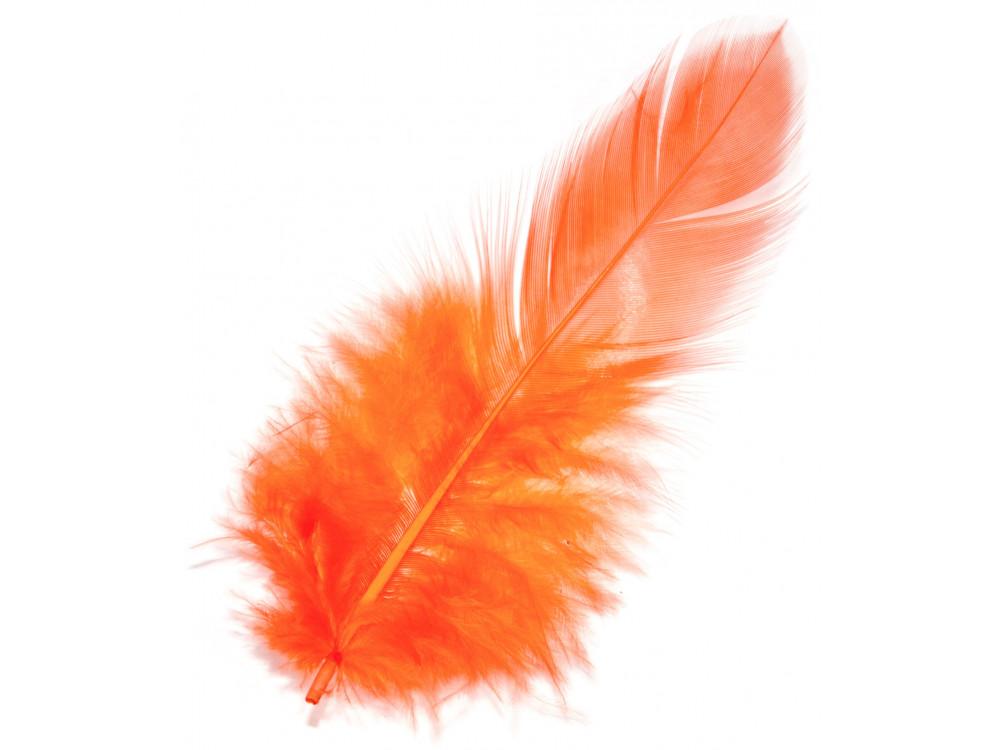 Piórka dekoracyjne, ozdobne - pomarańczowe, 190 szt.