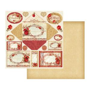 Papier Stamperia - Koperta, kartki / miodowe tło