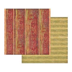 Papier Stamperia - Tekstura czerwona z dekoracją
