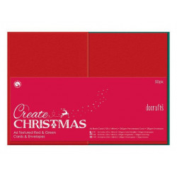 Cards and Envelopes Set - DoCrafts - red and green, A6, 50 pcs