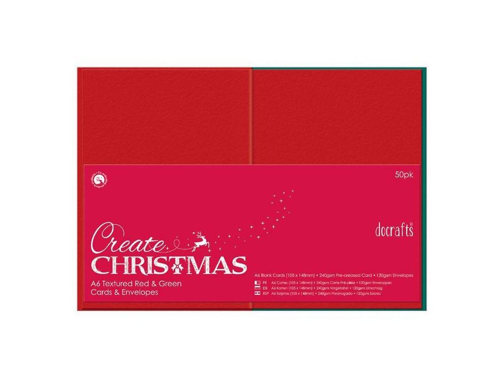 Zestaw kopert i kart - DoCrafts - czerwone i zielone, A6, 50 szt.