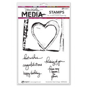 Stempel gumowy - Dina Media Stamps - Handwritten Heart Collage