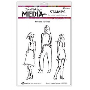Stempel gumowy - Dina Media Stamps - Scribbly Fashion Figures