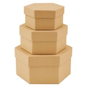 Pudełka tekturowe 3 szt. SZEŚCIOBOCZNE Papermania