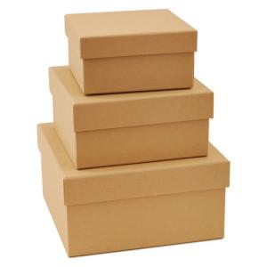 Pudełka tekturowe 3 szt. KWADRATOWE Papermania